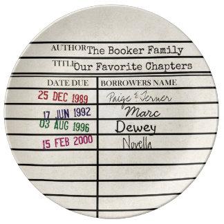 Plat de graphique de carte de bibliothèque assiette en porcelaine
