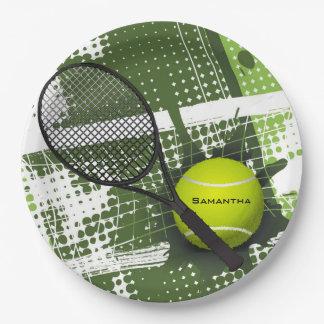 Plat de partie de papier de conception de tennis assiettes en papier