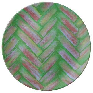 Plat de porcelaine de Basketweave Assiette En Porcelaine