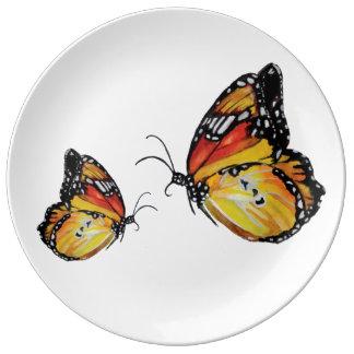 Plat décoratif de porcelaine d'art jaune de assiette en porcelaine