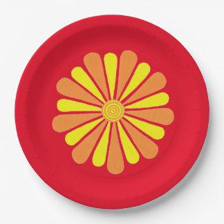 Plat jaune-orange abstrait d'éclat d'énergie de assiettes en papier