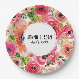 Plat orienté floral personnalisable du style | de assiettes en papier