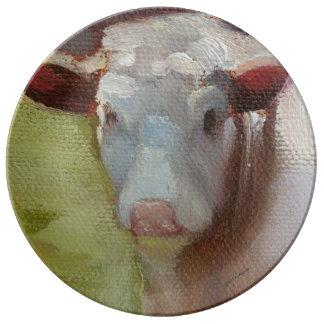 Plat simple de porcelaine de vache assiette en porcelaine
