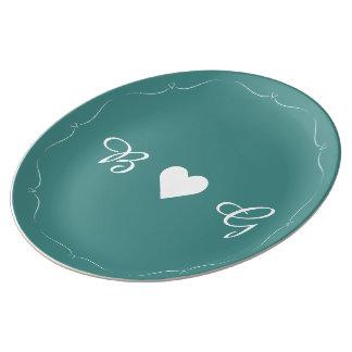 Plat turquoise élégant de monogramme de coeur de assiette en porcelaine