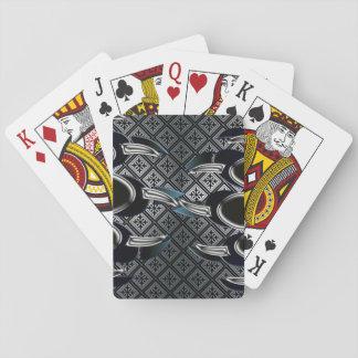 Plate-forme d'argent de patte d'ours gris des cartes à jouer