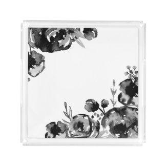 Plateau acrylique floral d'aquarelle déprimée