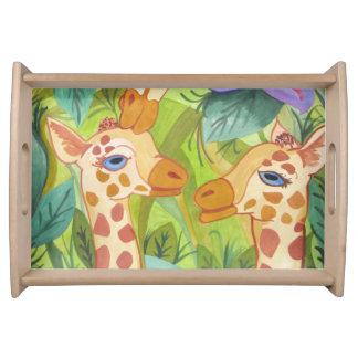 Plateau Baisers africains de girafe (art de Kimberly