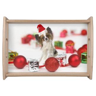 Plateau Casquette mignon de Père Noël de Noël de chien de