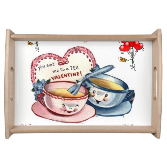 Plateau Coeurs rouges blancs de jour de Valentines servant