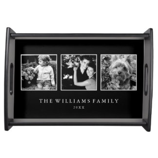 Plateau collage de la famille 3-Photo personnalisé