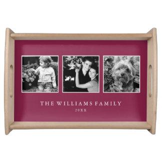 Plateau Collage marron de la famille 3-Photo personnalisé