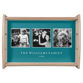 Plateau Collage turquoise de la famille 3-Photo de paon
