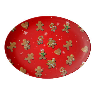 Plateau De Service En Porcelaine Biscuits de pain d'épice de Noël