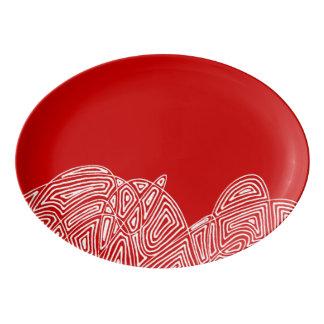 Plateau De Service En Porcelaine Bourrasque de Scribbleprint - rouge