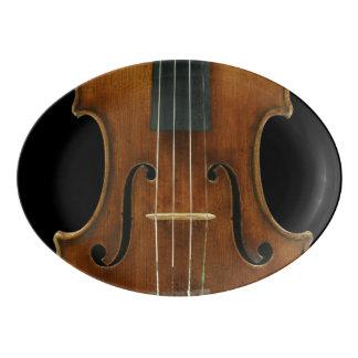 Plateau De Service En Porcelaine Détail de violon de Stradivari sur le noir