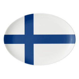 Plateau De Service En Porcelaine Drapeau de la Finlande