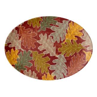 Plateau De Service En Porcelaine Feuille de chêne d'automne