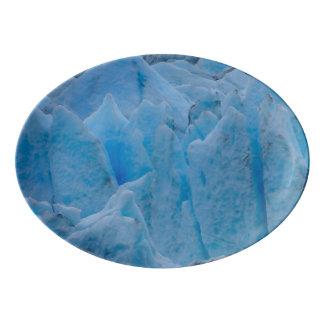 Plateau De Service En Porcelaine Glacier bleu