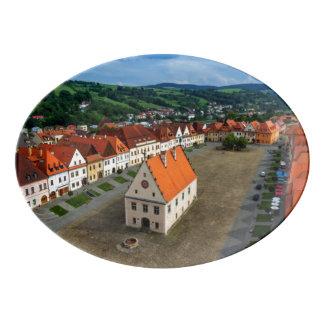 Plateau De Service En Porcelaine Vieille place dans Bardejov, Slovaquie