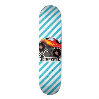 Plateau De Skateboard Camion de monstre rouge ; Drapeau Checkered ;