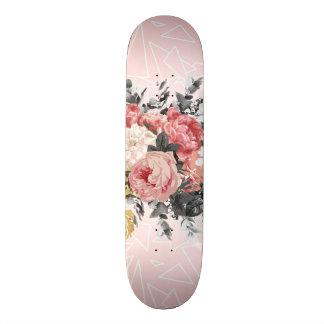 Plateau De Skateboard Roses vintages romantiques et dessin géométrique
