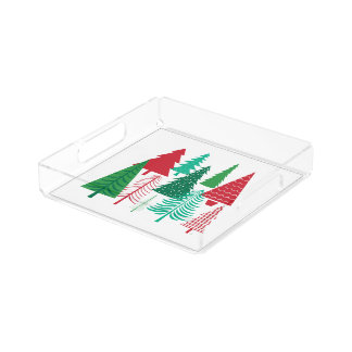 Plateau En Acrylique arbres de Noël contemporains modernes