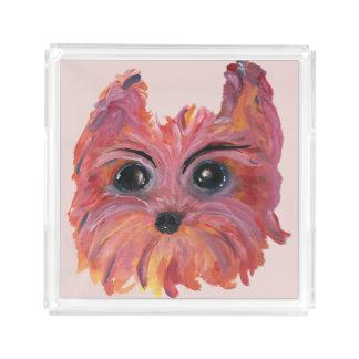 Plateau En Acrylique Art mignon de chien de Yorkie dans le rose et