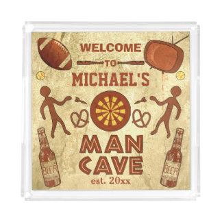 Plateau En Acrylique Caverne drôle d'homme avec votre coutume nommée