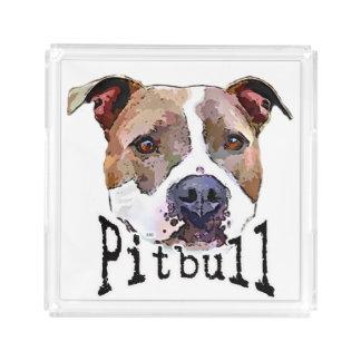 Plateau En Acrylique Chien de Pitbull