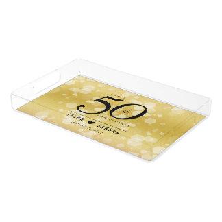 Plateau En Acrylique Cinquantième anniversaire de mariage d'or élégant