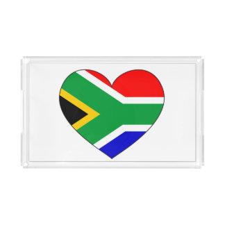 Plateau En Acrylique Coeur de drapeau de l'Afrique du Sud