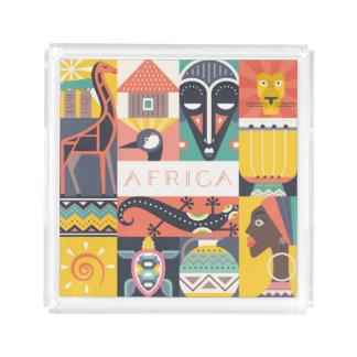 Plateau En Acrylique Collage symbolique africain d'art
