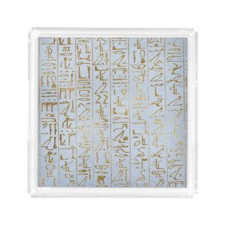 Plateau En Acrylique Copie de papier égyptienne d'or vintage