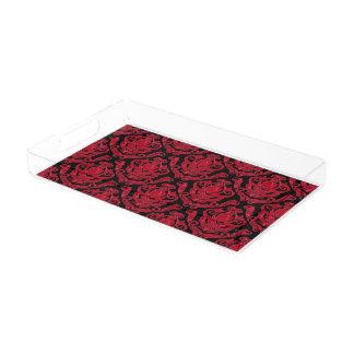 Plateau En Acrylique Copie rouge et noire élégante de damassé