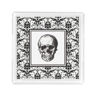 Plateau En Acrylique Crânes gothiques noirs de motif de damassé de