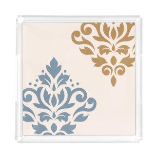 Plateau En Acrylique Crème d'or de bleu de l'art I de damassé de