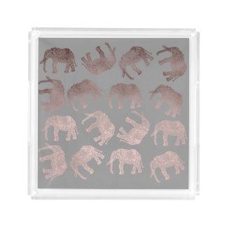 Plateau En Acrylique dégagez le motif tribal d'éléphant de feuille d'or