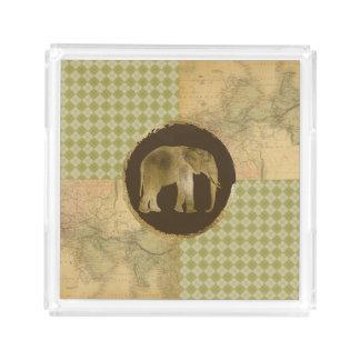 Plateau En Acrylique Éléphant africain sur la carte et le Jacquard