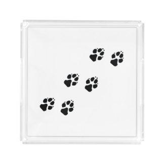 Plateau En Acrylique Empreintes de pattes d'un chien