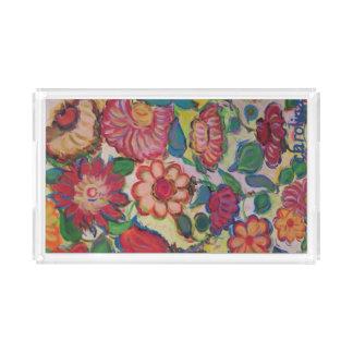 Plateau En Acrylique Fleurs pour Elyse