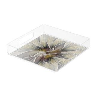 Plateau En Acrylique Fractale florale, fleur d'imaginaire avec des