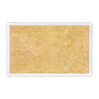 Plateau En Acrylique La feuille d'or à la mode tient le premier rôle