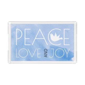 Plateau En Acrylique L'aquarelle bleue d'amour et de joie de paix a