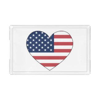 Plateau En Acrylique Les Etats-Unis marquent le coeur