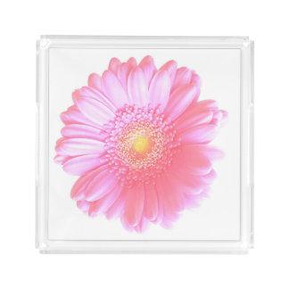 Plateau En Acrylique Marguerite rose-clair de gerbera