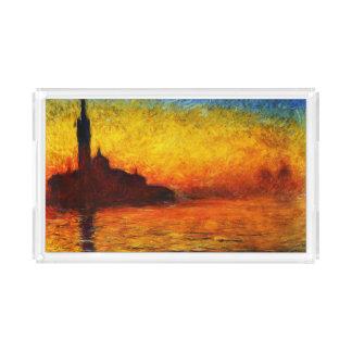 Plateau En Acrylique Monet-Coucher du soleil de Claude à Venise