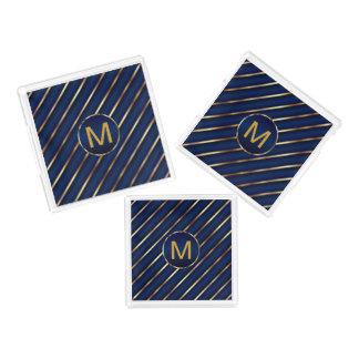 Plateau En Acrylique Monogramme bleu-foncé et rayures d'or