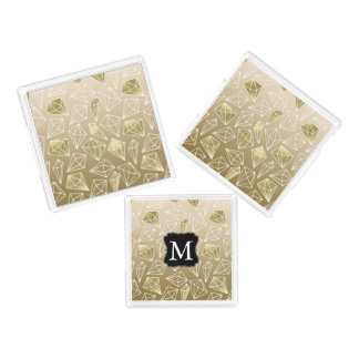 Plateau En Acrylique Monogramme fascinant de diamants d'or