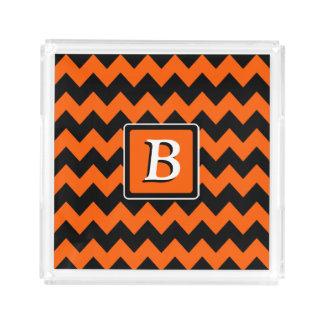 Plateau En Acrylique Monogramme orange et noir lumineux de Chevron |