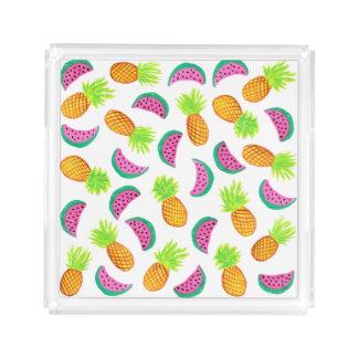 Plateau En Acrylique motif coloré de pastèque d'ananas d'aquarelle